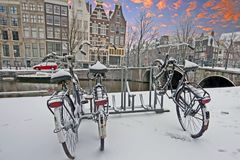 Sunset in snowy Amsterdam Netherlands. In winter Royalty Free Stock Image
