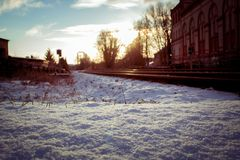 Snowy day on the rails stock photography