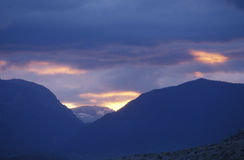 Sunset and Snowy Mountains, Yosemite, California Royalty Free Stock Images