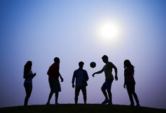 Sunset Soccer Active Friendship Concept Stock Photo