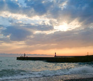 Sunset at Sochi. Wonderful sunset on a pebbles beach royalty free stock photos