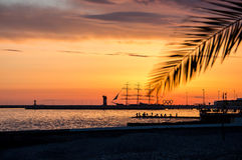 Sunset in Sochi. Wonderful sunset on Black sea in city of Sochi Stock Photography