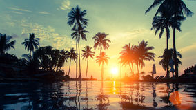 Sunset and soft twilight of the amazing tropical marine beach. Travel. Royalty Free Stock Image