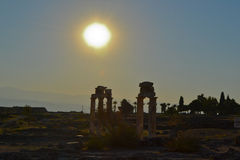 Sunset in some ruins. Pamukkale, turkey Royalty Free Stock Images