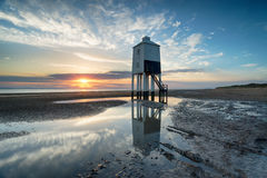 Sunset in Somerset. Sunset over the lighthouse at Burnham on Sea on the Somerset Coast royalty free stock image