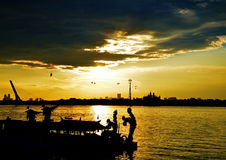 Sunset in Song Hua River, China,Harbin. Sunset in Song Hua River, China Royalty Free Stock Photo