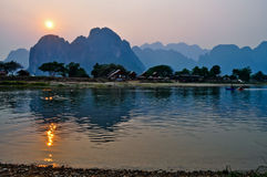 Sunset at Song river. Vang Vieng, Laos stock image