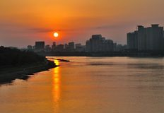 Sunset at Songhua River. Sunset reveals the beauty of nature on the Songhua River royalty free stock images