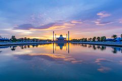 Sunset at Songkhla Central Mosque stock photo