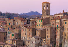 Sunset in Sorano. Sorano is a town and comune in the province of Grosseto, southern Tuscany. It as an ancient medieval hill town hanging from a tuff stone Royalty Free Stock Photography