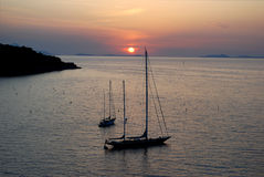 Sunset at Sorrento. View of yacht at sunset, Sorrento, Italy Royalty Free Stock Photo