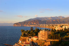 Sunset in Sorrento Italy. Sunset on the rugged Amalfi Coast in Sorrento, Italy Stock Photo