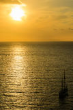 Sunset in Sorrento, Italy. Sunset view in Sorrento with a boat Royalty Free Stock Photography