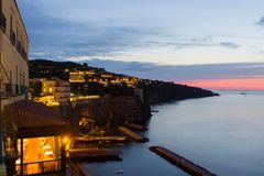 Sorrento near Naples in Italy. Sunset in Sorrento on Sorrento Peninsula in Italy Royalty Free Stock Photography