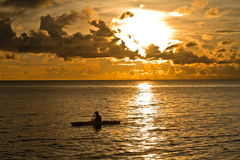 Sunset at South China Sea. With canoe in Phu Quoc close to Duong Dong, Vietnam Stock Photography