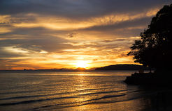 Sunset in the south of Thailand. Beautiful view of a sunset in Thailand Stock Photos