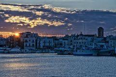 Sunset in southern Italy stock photography