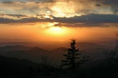 Sunset in southern Sikhote-Alin royalty free stock images