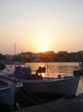 Sunset in Souvala port Royalty Free Stock Image