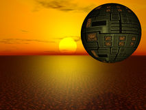 Sunset spaceship. Spherical spaceship exploring new water planet Royalty Free Stock Photography