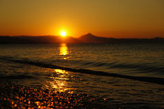 Sunset spain beach summer. Yellow orange Royalty Free Stock Image