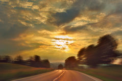 Sunset Speed Drive Royalty Free Stock Image