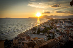 Sunset in Sperlonga. A beautiful sunset in Sperlonga, a famous roman town located in Italy Royalty Free Stock Image