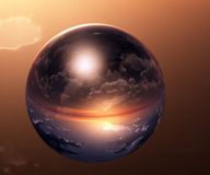 Sunset in the sphere. Fantasy globe, spherical world, fantastic background Stock Images