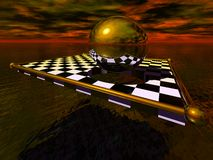 Sunset Sphere with Chess Board. Surrealist sunset with chessboard, reflective sphere and ocean Royalty Free Stock Photo