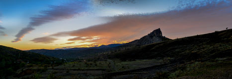 Sunset. Spindrift clouds during amazing sunset in mountains, Ukraine Stock Photography