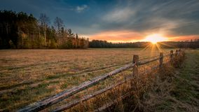 Sunset on an Adirondack meadow in Lake Placid, New York Royalty Free Stock Photo