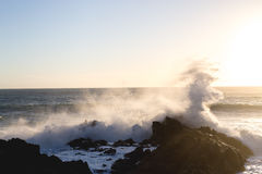 Sunset Spray. Big waves crash into the rocky shoreline and splash into the air as bright, white foam Royalty Free Stock Photo
