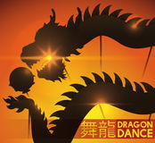 Sunset of Spring Festival with View of Dragon Dance Silhouette, Vector Illustration Royalty Free Stock Image