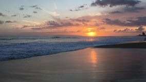 Sunset in Spring in Kekaha on Kauai Island, Hawaii - Niihau Island in Horizon.