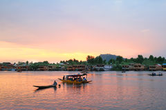 The sunset in Srinagar City (India) royalty free stock image