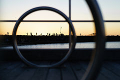 Sunset at St. Kilda pier. Silhouette of a group of people gathering in St. Kilda pier, Melbourne, Victoria, Australia Stock Image