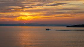 Sunset on the St. Lawrence River from Kamouraska, Quebec royalty free stock photo