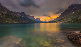 Sunset at St. Mary Lake, Glacier national park, MT Royalty Free Stock Photography
