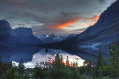 Sunset, St. Mary Lake, Glacier National Park Royalty Free Stock Photos