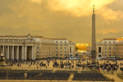 Sunset in St. Peter's Square, Vatican. Royalty Free Stock Image