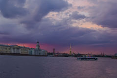 Sunset in St. Petersburg, Russia Stock Images