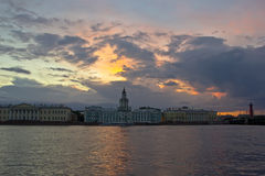 Sunset in St. Petersburg, Russia Royalty Free Stock Photos