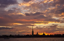 Sunset in St. Petersburg, Russia Royalty Free Stock Images