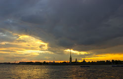 Sunset in St. Petersburg, Russia Royalty Free Stock Photography