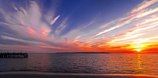 Sunset on St. Simons Island, GA, on New Years Day Stock Photo