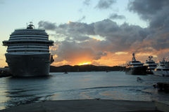 Sunset in St Thomas in Caribbean. Beautiful sunset and cruise ship in St Thomas in the Caribbean sea Royalty Free Stock Photos