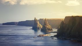 Sunset at Stacks of Duncansby, observatory and bird farm, Duncan stock images