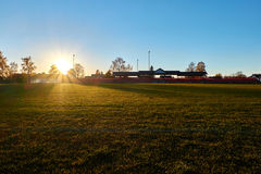 Sunset in stadium Royalty Free Stock Images