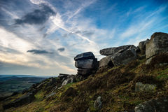Sunset at Stanage edge. Gritstone rock formation at Stanage edge, Derbyshire, UK Royalty Free Stock Photography