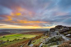 Sunset from Stanage Edge, in the Peak District National Park, Derbyshire, England, UK.  Stock Photos
